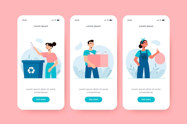 Onboarding app screen for recycle