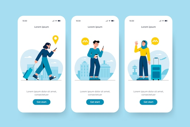Onboarding app screen for taxi service