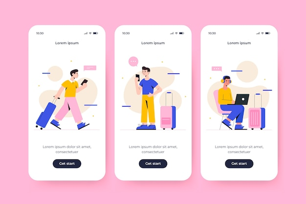 Onboarding app screen for traveling concept