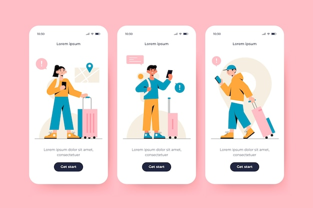 Onboarding app screen for traveling