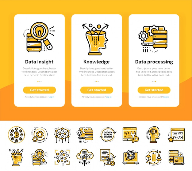 Onboarding app screens of data science technology and machine learning process icon set
