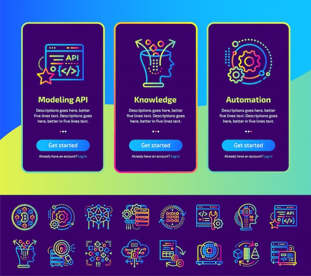 Onboarding app screens of data science technology and machine learning process illustration set.