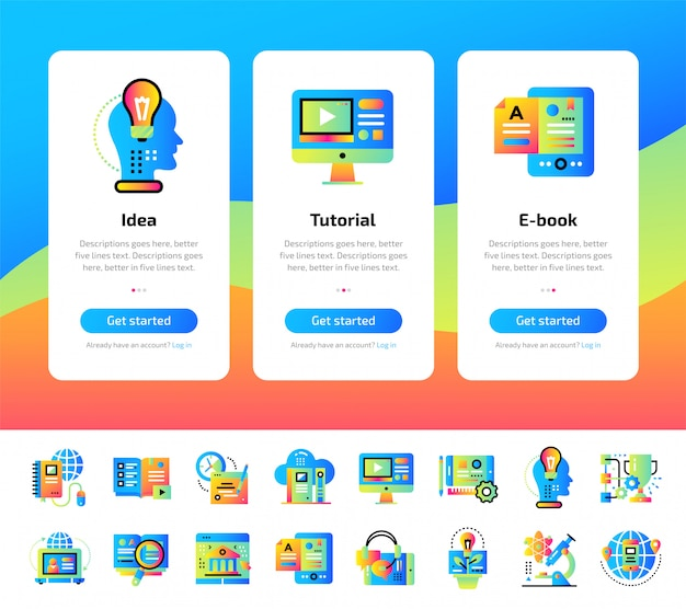 Onboarding app screens of education and e-learning illustrations set.