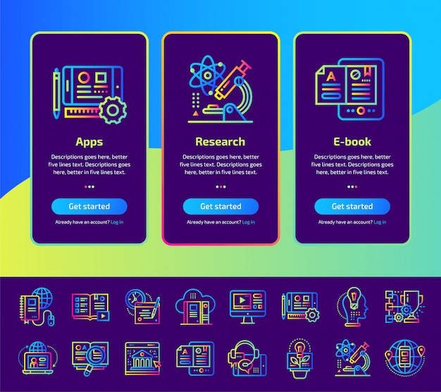 Onboarding app screens of education and e-learning illustrations set