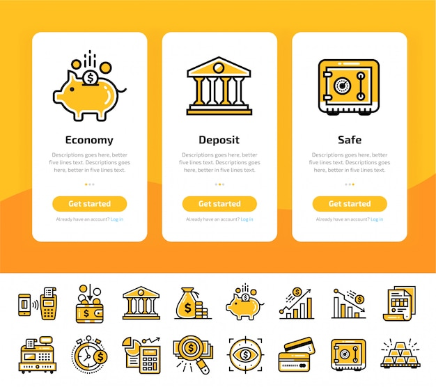 Onboarding app screens of finance, banking icon set