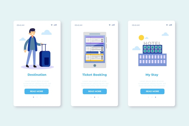 여행 서비스를위한 온 보딩 앱 화면