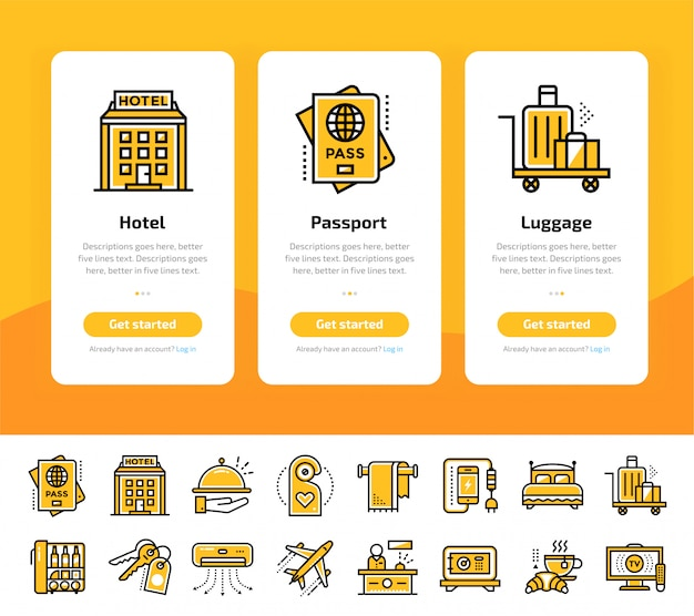 Onboarding app screens of hotel services icon set