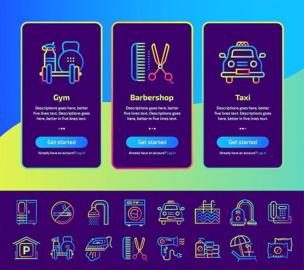 Onboarding app screens of hotel services illustration set.