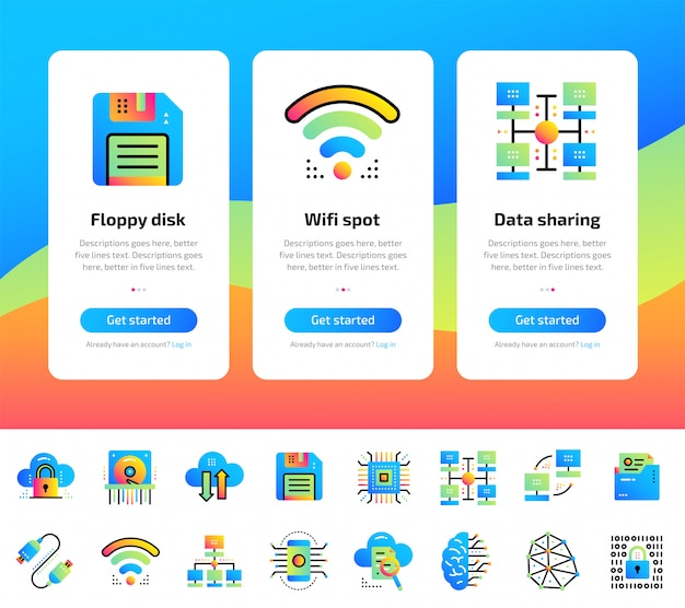 Бортовые экраны приложений набора данных, интернет-технологий и защищенных данных. подходит для интерфейса ux, ux, мобильных приложений, веб-сайтов.