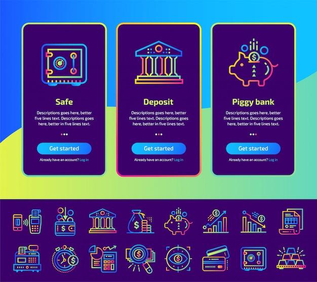 Onboarding приложения экраны финансов, банковской иллюстрации набор.