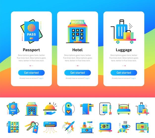 ホテルサービスイラストのオンボーディングアプリ画面セット。