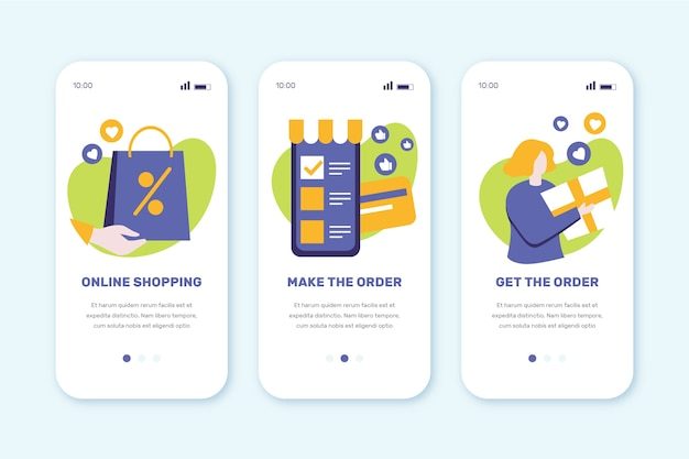 Onboarding app screens for online purchasing
