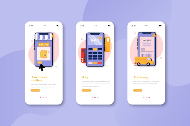Onboarding app screens for online shopping