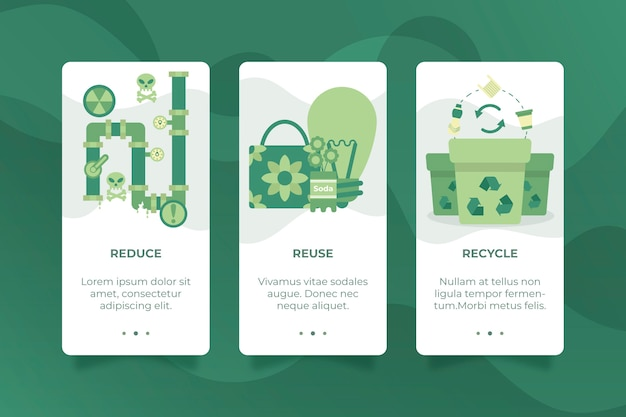 Onboarding app screens for recycle concept