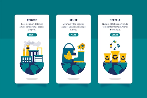Onboarding app screens for recycle design