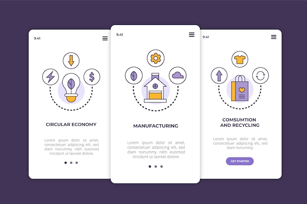 Onboarding app screens for recycle