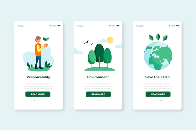 Onboarding app screens for recycling service set