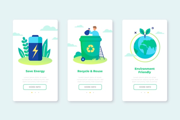 Onboarding app screens for recycling service