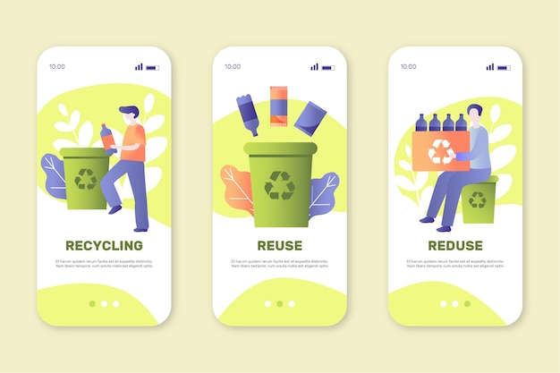 Onboarding app screens for recycling