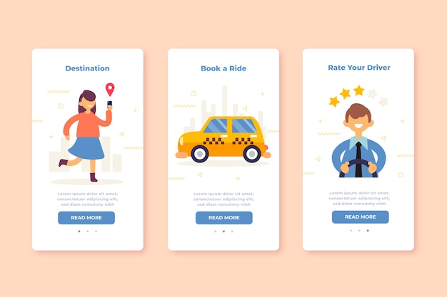 Onboarding app screens for taxi service
