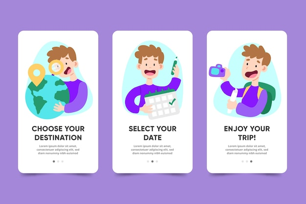 Onboarding app screens for traveling