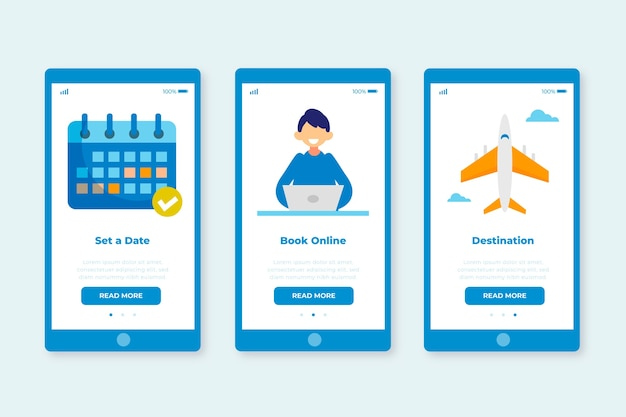 Onboarding app screens for travelling service set