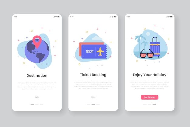 Onboarding app screens with travelling