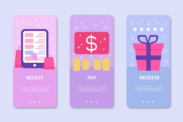 Onboarding app theme for online purchase