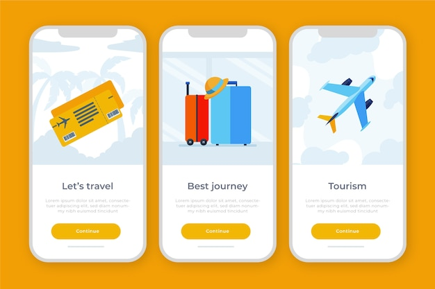 Onboarding app theme for traveling