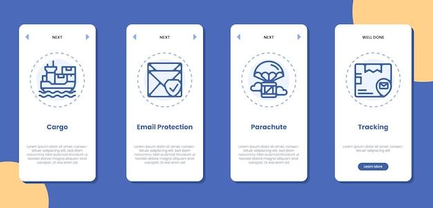 貨物メール保護パラシュート追跡アイコンの図とオンボーディングアプリケーション画面