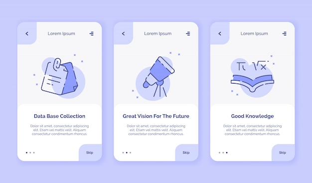 Onboarding icon creative data base collection great vision for the future good knowledge campaign for mobil apps landing template flat style