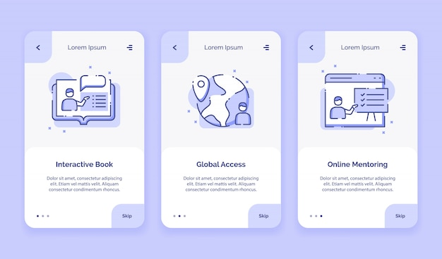Onboarding icon online course interactive book global access online mentoring campaign for mobil apps home landing page template with outline style flat style design.