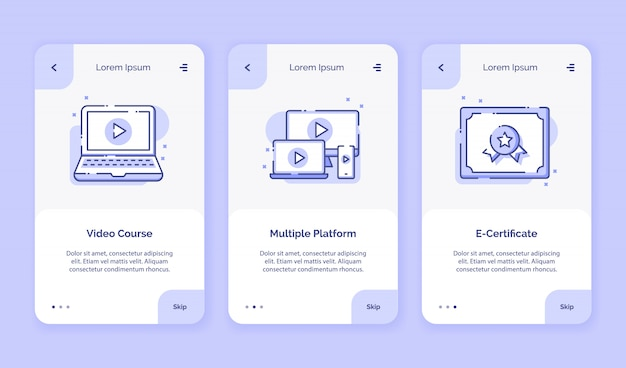 Onboarding icon online course video course multiple platform e certificate campaign for mobil apps home landing page template with outline style flat style design.