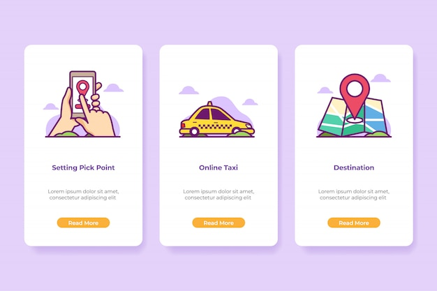 Onboarding illustration online taxi application