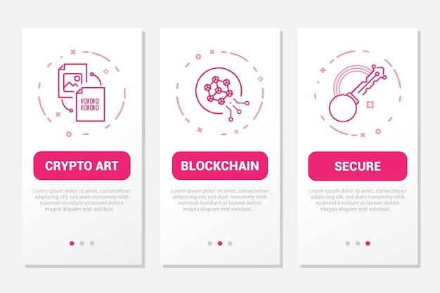 온보딩 모바일 앱 페이지 화면 아이콘은 암호화 아트 블록체인 기술 보안을 설정합니다.
