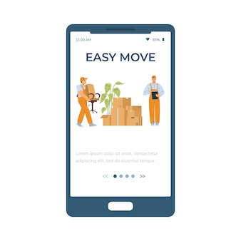Onboarding mobile app screen for moving service flat vector illustration