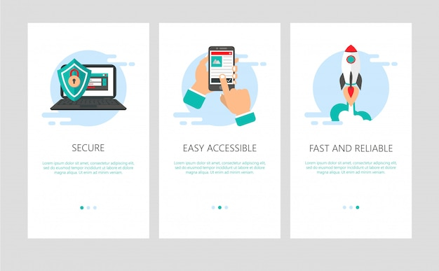 Onboarding for mobile apps in flat style.