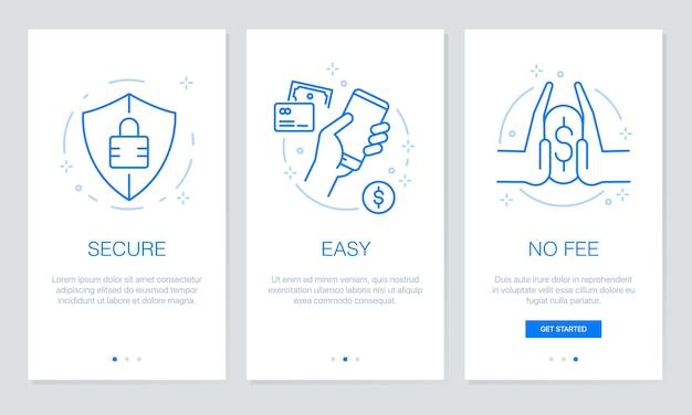 Onboarding payment app screens.