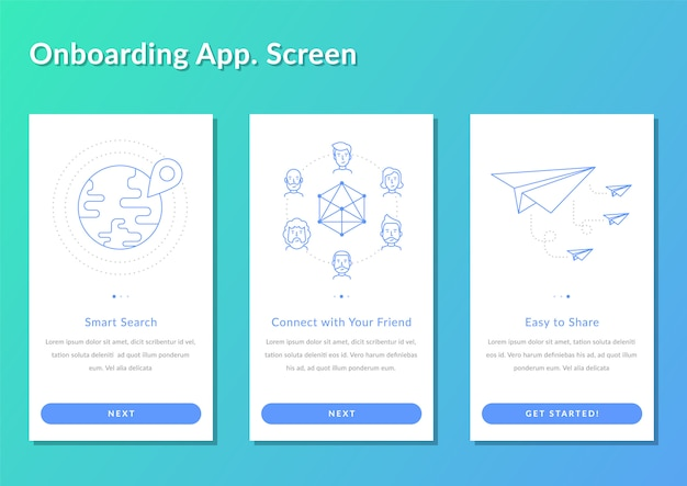 Onboarding screen walkthrough app register splashscreen vector illustration