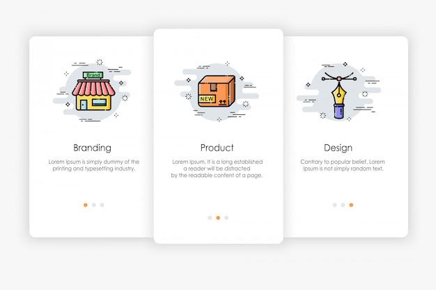 Дизайн бортовых экранов в концепции брендинга. современная и упрощенная иллюстрация, шаблон для мобильных приложений.