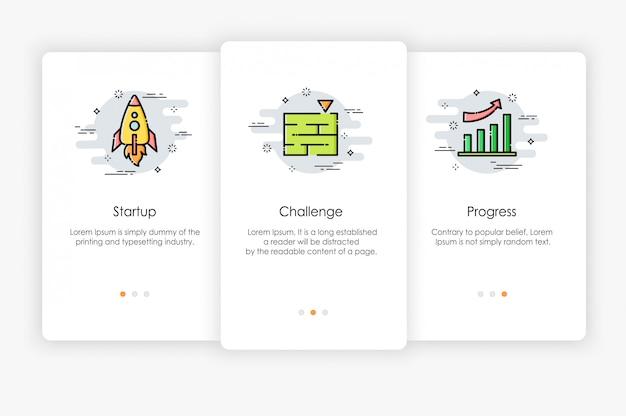 Бортовые экраны дизайн в бизнес-концепции. современная и упрощенная иллюстрация, шаблон для мобильных приложений.