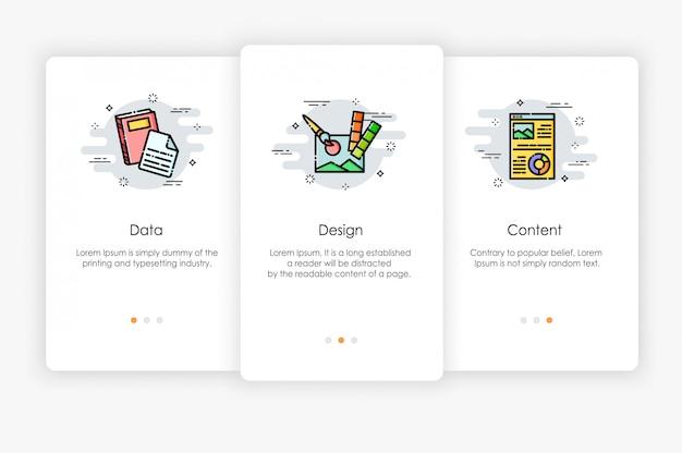 Дизайн бортовых экранов в концепции данных и контента. современная и упрощенная иллюстрация, шаблон для мобильных приложений.