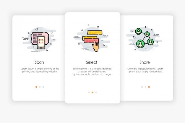 Дизайн бортовых экранов в том, как использовать концепцию приложения. сканирование выбрать и поделиться значком. современная и упрощенная иллюстрация, шаблон для мобильных приложений.