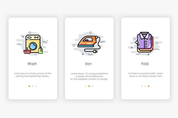 Дизайн бортовых экранов в концепции прачечной и стиральной машины. современная и упрощенная иллюстрация, шаблон для мобильных приложений.