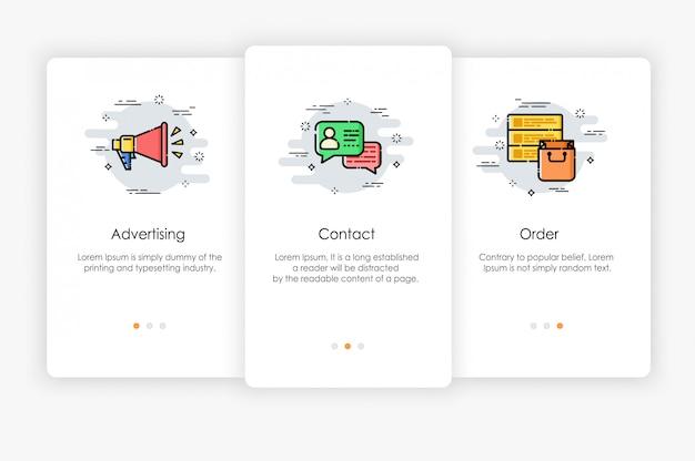 Дизайн бортовых экранов в маркетинговой концепции. современная и упрощенная иллюстрация, шаблон для мобильных приложений.