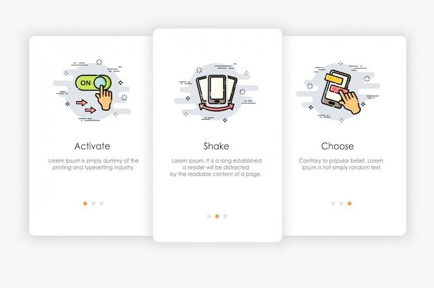 Бортовые экраны дизайн в концепции мобильных действий. современная и упрощенная иллюстрация, шаблон для мобильных приложений.