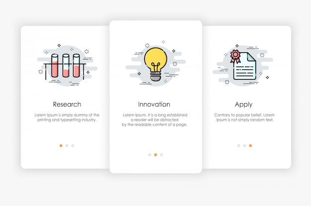 Дизайн бортовых экранов в концепции исследований и инноваций. современная и упрощенная иллюстрация, шаблон для мобильных приложений.
