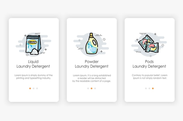 Onboarding screens design in laundry detergent concept. modern and simplified , template for mobile apps.