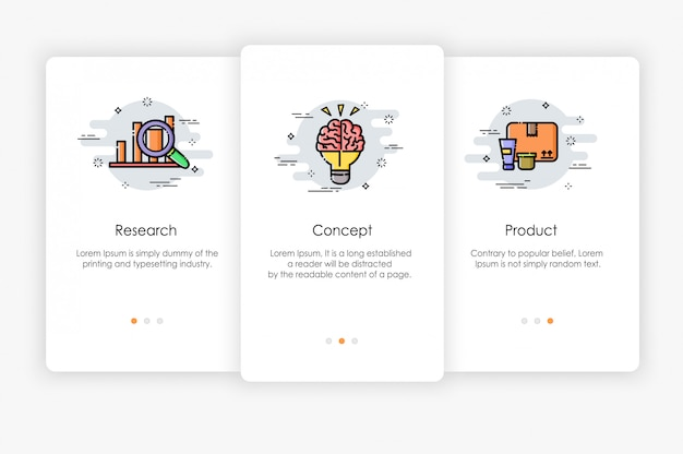 Onboarding screens design in marketing concept. modern and simplified   illustration, template for mobile apps.