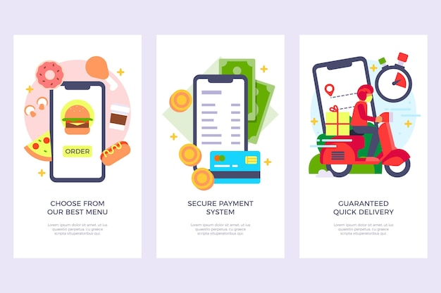Onboarding screens for food delivery application